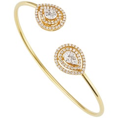 18 Karat Yellow Gold Pave Diamond Cuff Bangle