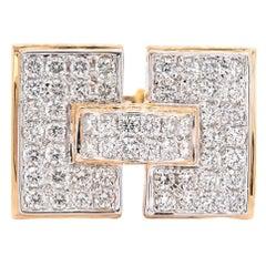 18 Karat Yellow Gold Pave Diamond H Ring