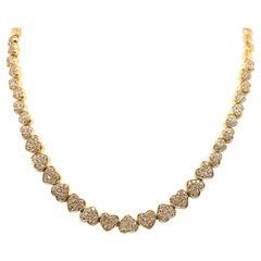 18 Karat Yellow Gold Pave Diamond Heart Riviere Necklace 3.50 Carats