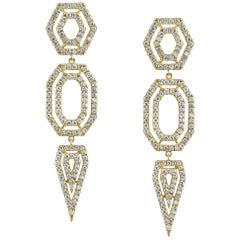 18 Karat Yellow Gold, Pave Diamond Hexagon Drop Earrings