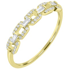 18 Karat Yellow Gold Pave Diamond Link Band Ring
