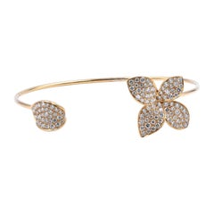 18 Karat Yellow Gold Pave Diamond Orchid Bangle Bracelet