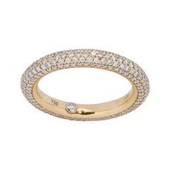 18 Karat Yellow Gold Pave Diamond Ring
