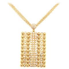 18 Karat Yellow Gold Pave' Diamonds Rectangular Pendent Made in Italy