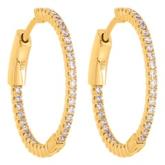 18 Karat Yellow Gold Pave Round Diamond Huggie Hoop Earrings