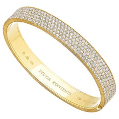 18 Karat Yellow Gold Pave Set Diamond Bracelet, M8
