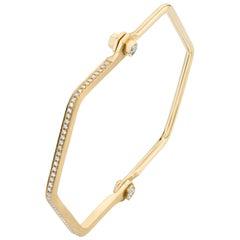 18 Karat Yellow Gold, Pave White Diamond Skinny Hexagon Handcuff