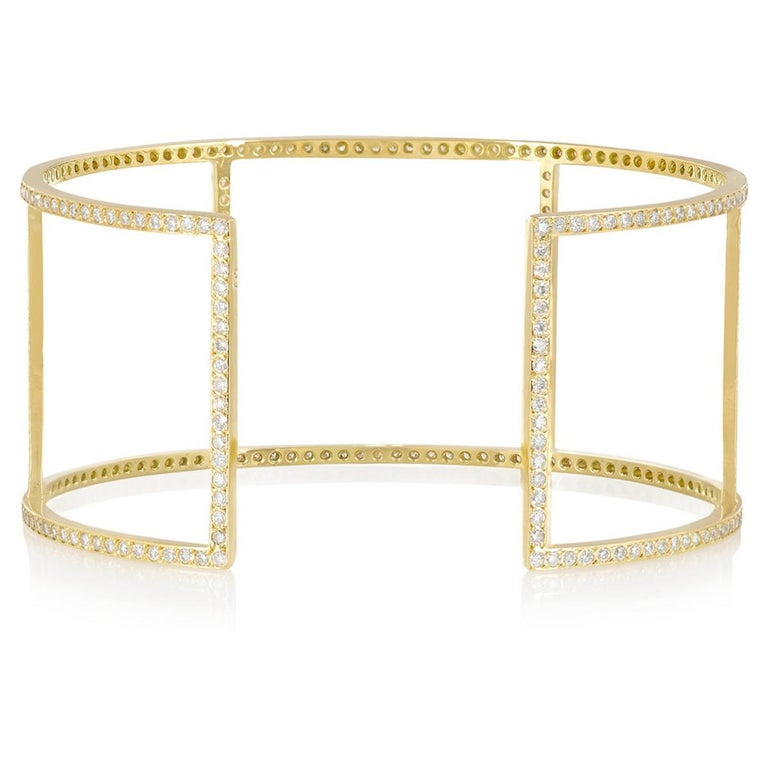 Round Cut Ileana Makri 18 Karat Yellow Gold Pavé White Diamond Wire Cuff For Sale