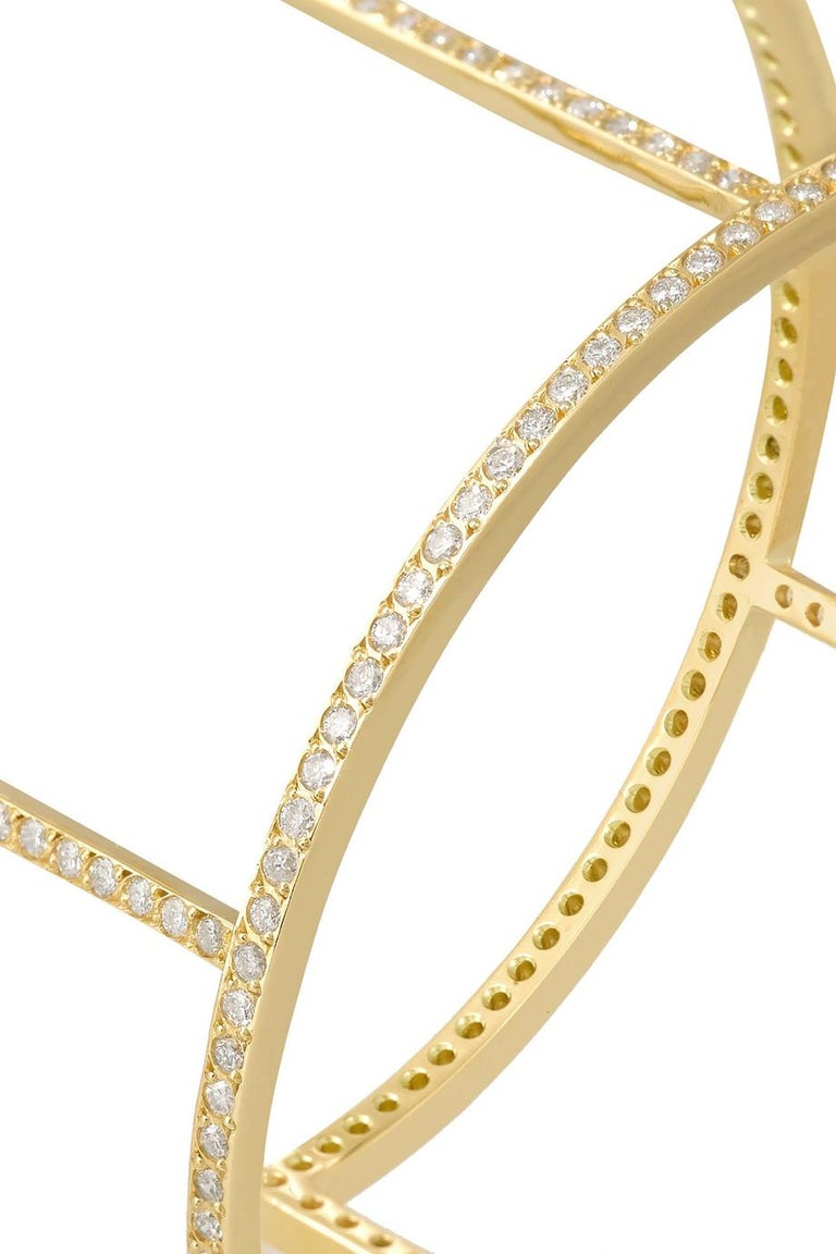 Ileana Makri 18 Karat Yellow Gold Pavé White Diamond Wire Cuff In New Condition For Sale In Athens, GR