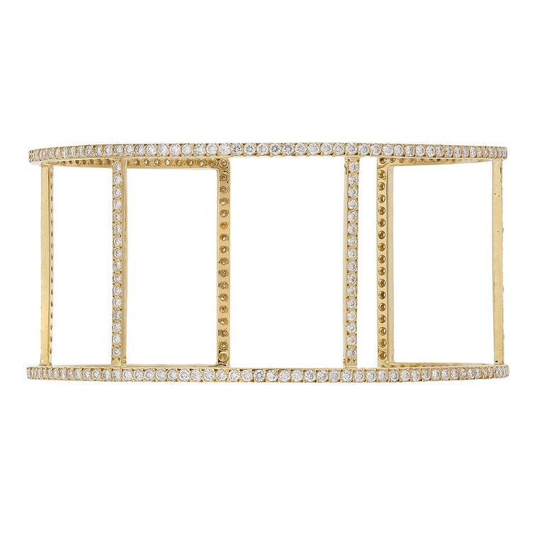 Ileana Makri 18 Karat Yellow Gold Pavé White Diamond Wire Cuff For Sale 3