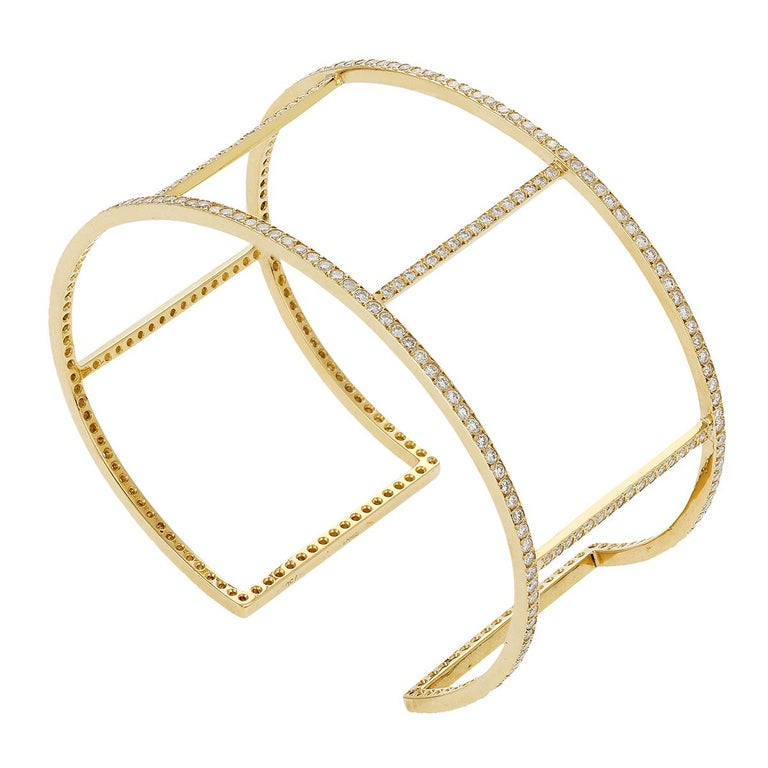 Ileana Makri 18 Karat Yellow Gold Pavé White Diamond Wire Cuff For Sale 4