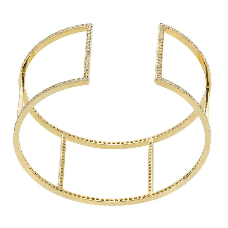 Ileana Makri 18 Karat Yellow Gold Pavé White Diamond Wire Cuff For Sale 5