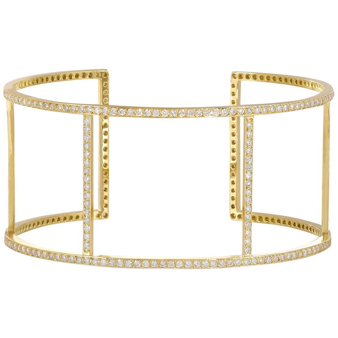 Ileana Makri 18 Karat Yellow Gold Pavé White Diamond Wire Cuff