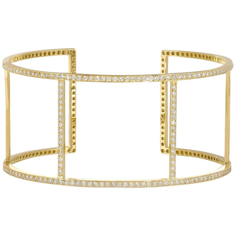 Ileana Makri 18 Karat Yellow Gold Pavé White Diamond Wire Cuff For Sale