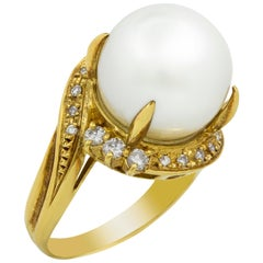 18 Karat Yellow Gold Pearl and Diamond Bypass Ring