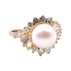 18 Karat Yellow Gold Pearl and Diamond Cocktail Ring