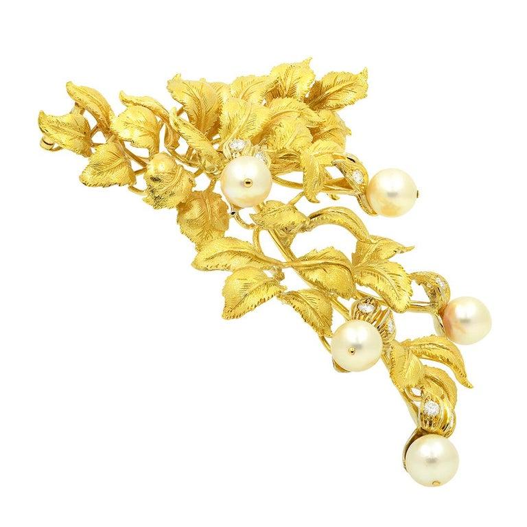Brilliant Cut 18 Karat Yellow Gold Pearl and Diamond Leaf Brooch For Sale