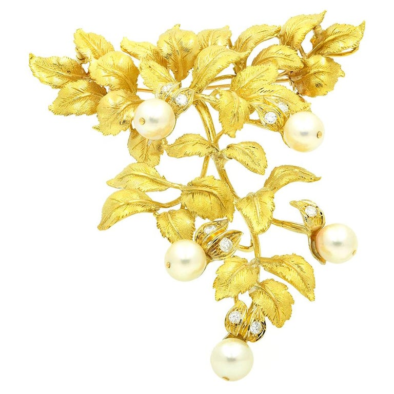 18 Karat Yellow Gold Pearl and Diamond Leaf Brooch For Sale