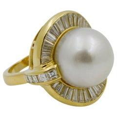 18 Karat Yellow Gold Pearl and Diamond Ring