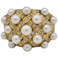 18 Karat Yellow Gold Pearl and Diamond Woven Cocktail Ring