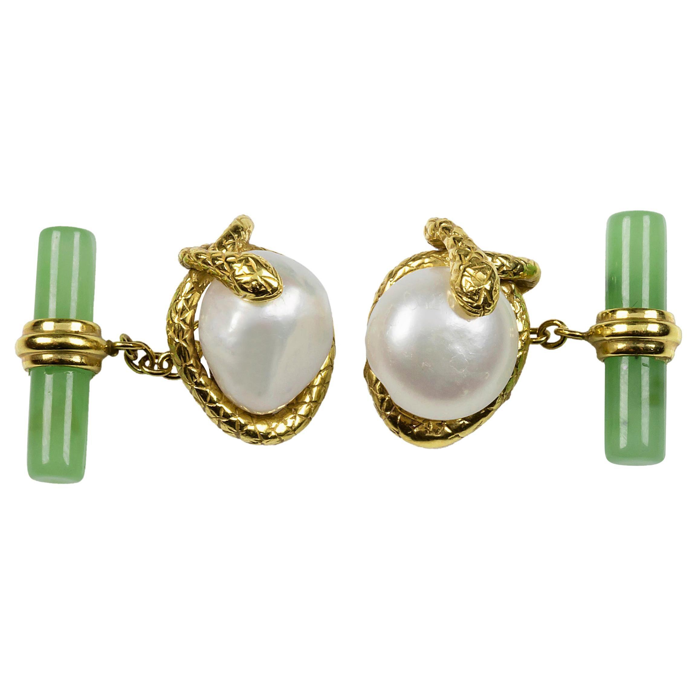 18 Karat Yellow Gold Pearl and Jade Snake Cufflinks