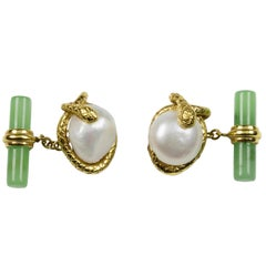 18 Karat Yellow Gold  Pearl and Jade Snake Cufflinks