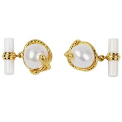 18 Karat Yellow Gold Pearl and White Agate Snake Cufflinks
