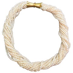 18 Karat Yellow Gold Pearl Collier Torsade Necklace