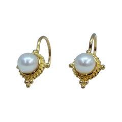 18 Karat Yellow Gold Pearl Drop Earrings