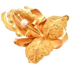 18 Karat Yellow Gold Pearl Flower Brooch