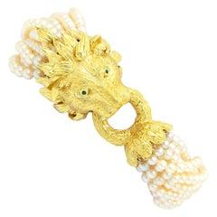 18 Karat Yellow Gold Pearl Lion's Head Bracelet