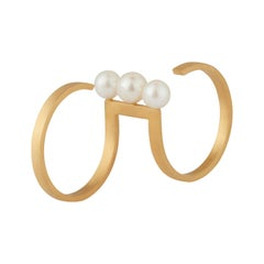 Akoya Pearls 18-Karat Yellow Gold Fine Double Ring