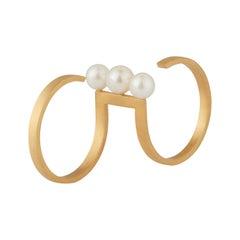 Akoya Pearls 18-Karat Yellow Gold Fine Double Ring