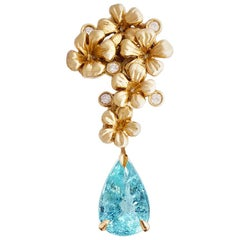 18 Karat Yellow Gold Pendant Necklace with Diamonds and Paraiba Tourmaline