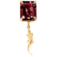 18 Karat Yellow Gold Pendant Necklace with Rhodolite by Artist