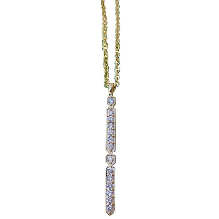 18 Karat Yellow Gold Pendant with 0.21 Carat of Diamond on an Cable Chain For Sale