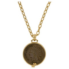 18 Karat Yellow Gold Pendant with 1862 American Indian Head Penny