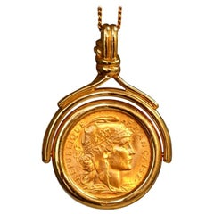 18 Karat Yellow Gold Pendant with Antique Gold Coin
