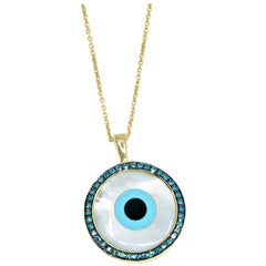 18 Karat Yellow Gold Pendant with Diamonds, Turquoise and Mother of Pearl Inlay