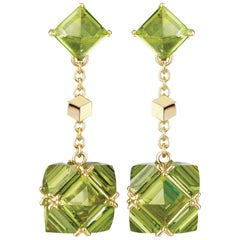 Paolo Costagli 18 Karat Yellow Gold Peridot, 15 Carats Very PC Earrings, Petite