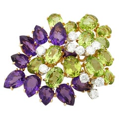 18 Karat Yellow Gold Peridot, Amethyst and Diamond Fancy Cluster Brooch