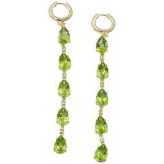 18 Karat Yellow Gold Peridot and Brown Diamonds Garavelli Long Earrings