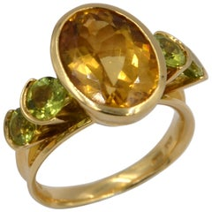 18 Karat Yellow Gold Peridot and Citrine Garavelli Ring