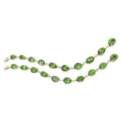 18 Karat Yellow Gold Peridot and Diamond Bracelet Set
