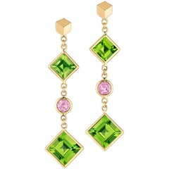 Paolo Costagli 18 Karat Yellow Gold Peridot & Pink Sapphire Florentine Earrings