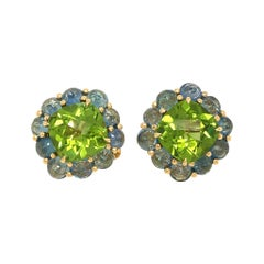 18 Karat Yellow Gold Peridot and Sapphire Earrings