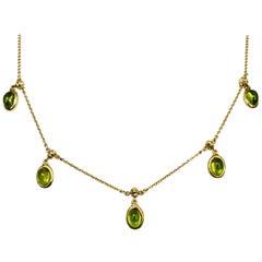 18 Karat Yellow Gold Peridot Necklace