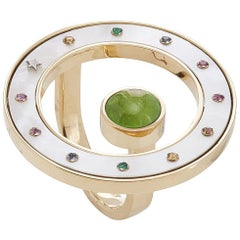 18 Karat Yellow Gold, Peridot, Sapphires and Mother of Pearl Cocktail Ring
