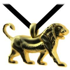 18 Karat Yellow Gold Persepolis Lion Pendant Necklace