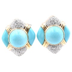 18 Karat Yellow Gold Persian Turquoise and Diamond Button Earrings